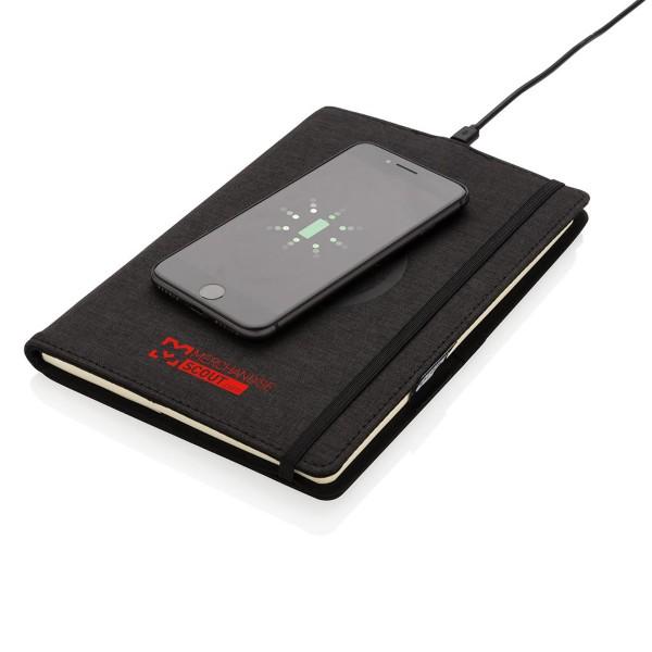 A5 Schreibmappe aus rPET mit Wireless Charging